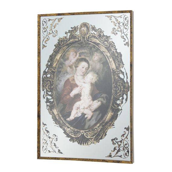 11409 Quadro Espelhado Mãe Filho e Anjos