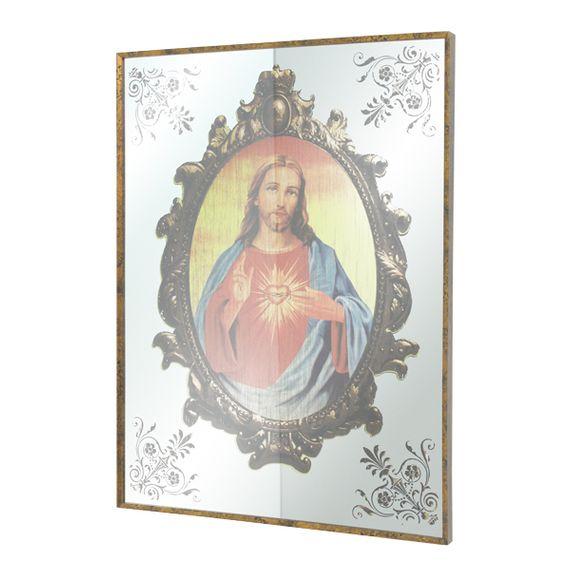 11413 Quadro Espelhado Sagrado Coração de Jesus