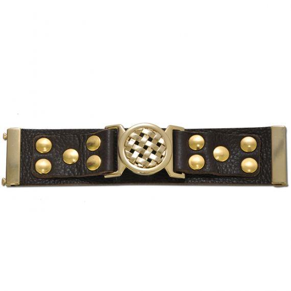 P42A Bracelete Kafé em Couro, detalhes de Lapela e Bridão Trecê Dourado - Marrom