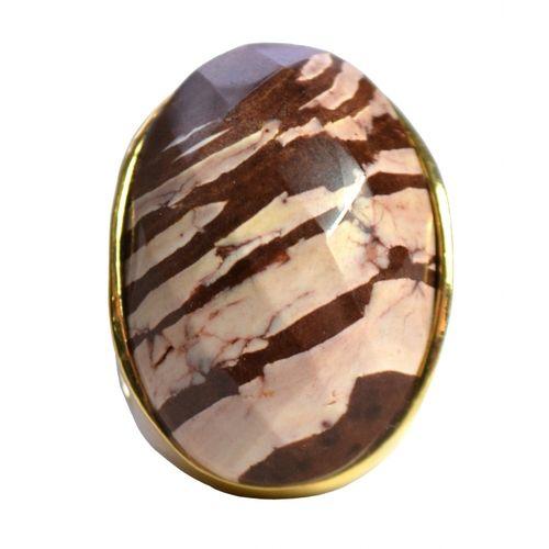 MRAN21RM Anel Com Pedra Facetada Jaspe Zebra Formato Oval