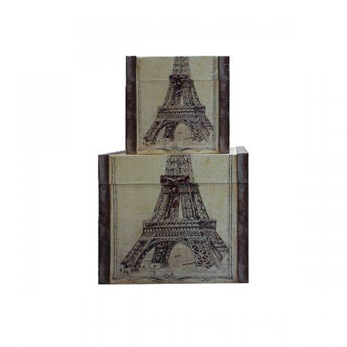 11162 BAÚS - 3 PEÇAS - PARIS TORRE EIFFEL - OLDWAY - 53x57x51cm