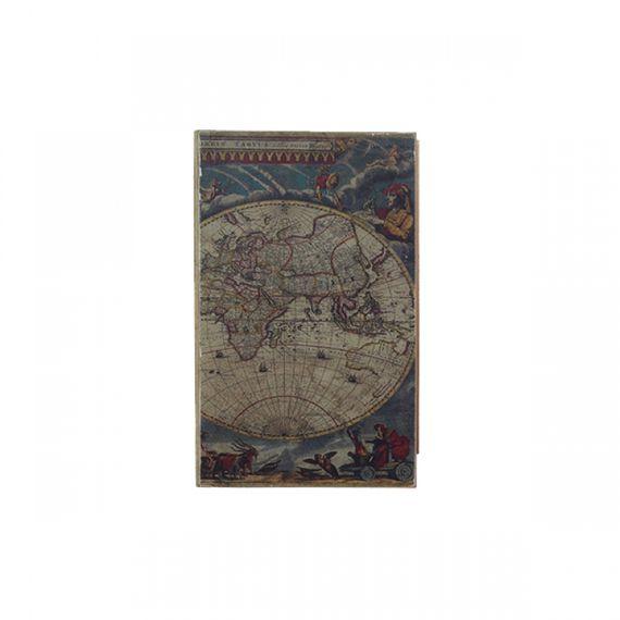 11153 CAIXA VINHO 2 GARRAFAS BOOK MAPA MUNDI OLDWAY42x28cm