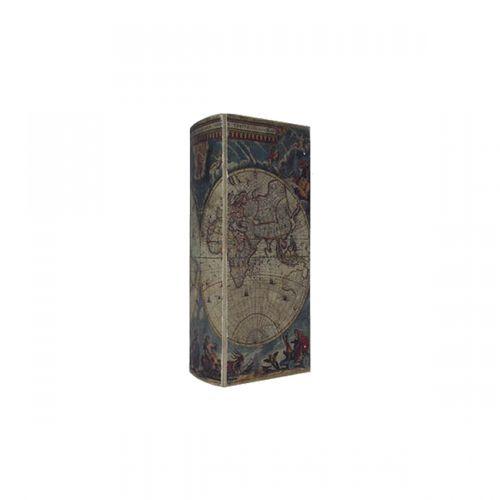 11154 Caixa Vinho 1 Garrafa Book Mapa Mundi