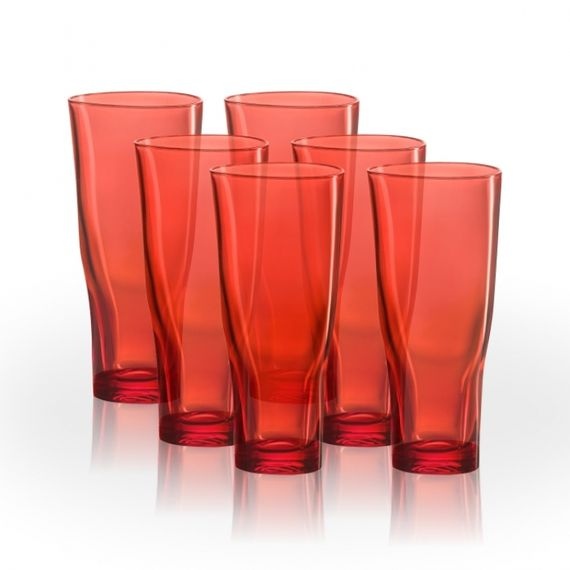 10.5.8 Kit 6 copos 270ml Vermelho Translúcido