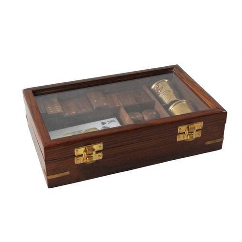 36061 Caixa Madeira com Dados - Cartas - Dominó