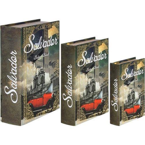 11222 BOOK BOX - SALVADOR CALHAMBEQUE VERMELHO - OLDWAY - 36x25x10cm