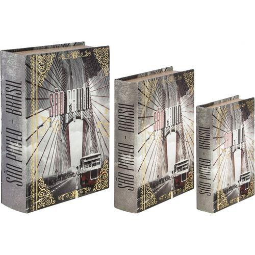 11221 BOOK BOX SÃO PAULO CALHAMBEQUE - 3 PEÇAS - OLDWAY - 36x25x10cm