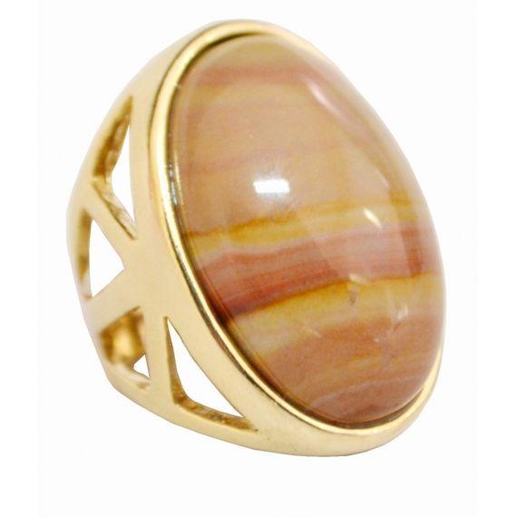 POAN08BE Anel Com Pedra Amazonita Bege Oval Grande