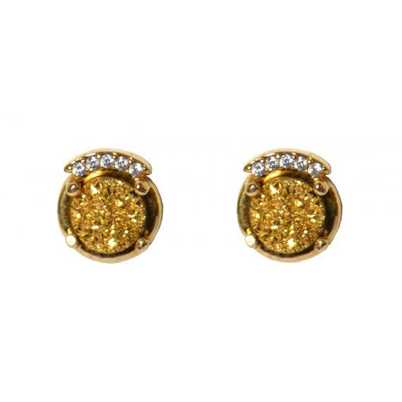 MRBR28DO Brincos de Pedra Druza Dourada Pequena e Detalhe em Swarovski