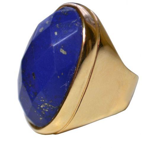 MRAN28LL Anel Com Pedra Lapidada Lápis Lazuli Oval