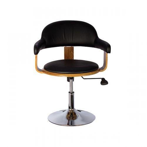 27023 Cadeira Walnut Preto Base Cromada