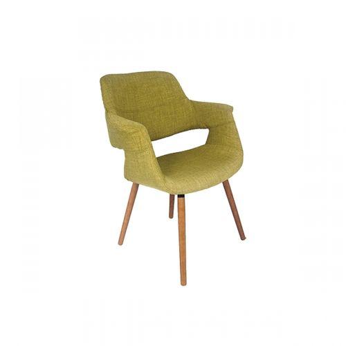 27034 Cadeira com Braço Encosto e Acento em Tecido Verde