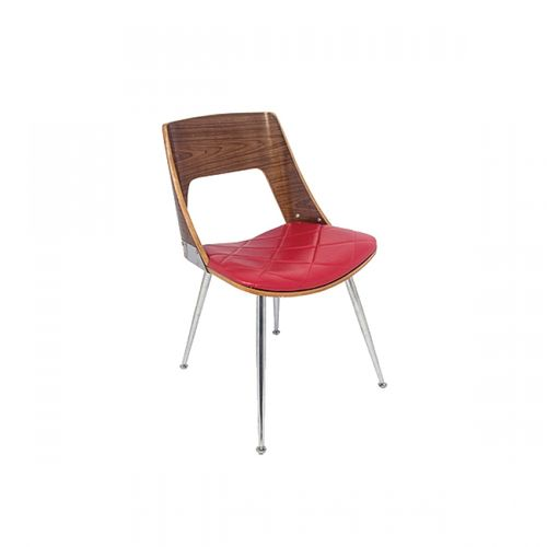 27038 Cadeira Walnut Preto e Vermelho