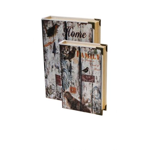 11104 BOOK BOX - 2 PEÇAS - HOME E FAMILY - OLDWAY - 33x22x7cm