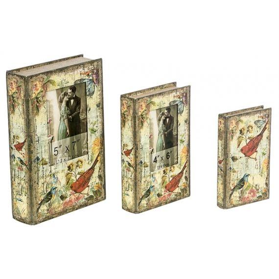 11239 BOOK BOX COM FOTOS PASSÁROS 3 PEÇAS OLDWAY