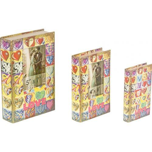 11243 BOOK BOX C/FOTO LOVE 3PÇS OLDWAY 33x21x7,5cm