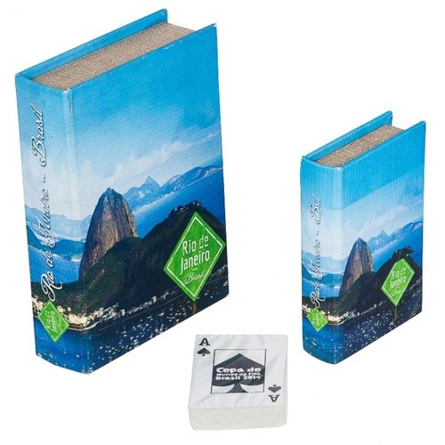 11270 BOOK BOX CCONJUNTO 2 PEÇAS + CARTAS PÃO DE AÇUCAR FULLWAY 20x14x4