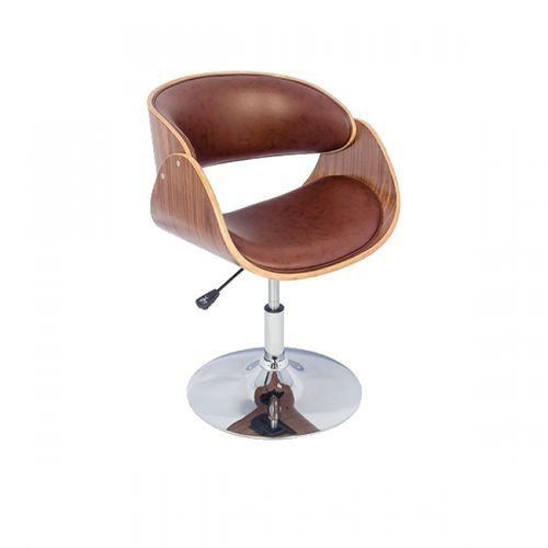 27025 Cadeira Madeira Curva Base Cromada Disco Pu Marrom