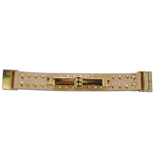 P33B Bracelete Kafé em Couro, Laço Dourado e Strass