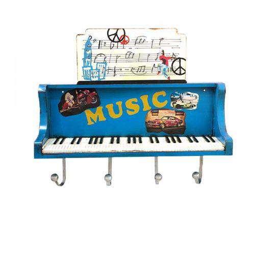 14123 Móvelo de Parede Piano - Azul com Ganchos