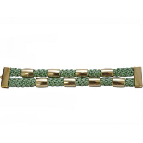 P54A Bracelete Kafé em Couro Trançado Escovado - 2 Tranças, meia Cana e Fecho Ímã Dourado - Verde