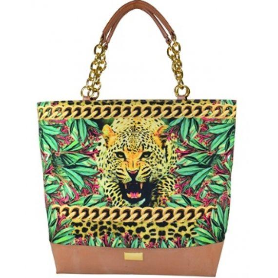 102114 Bolsa Acabamento de Couro Estilo Shopping Bag - Estampa Onça