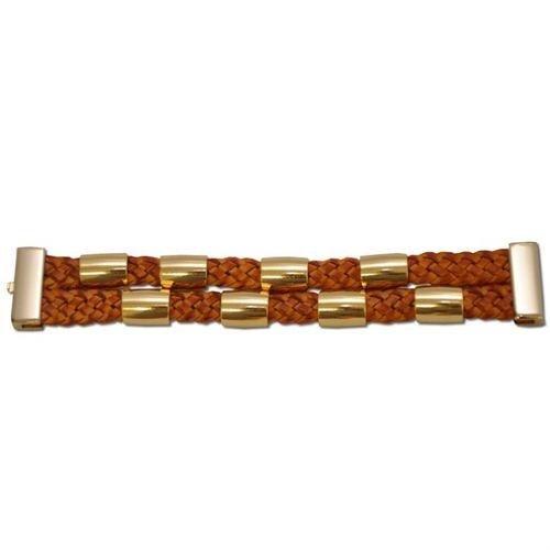 P54B Bracelete Kafé em Couro Trançado Escovado - 2 Tranças, Meia Cana e Fecho Ímã Dourado - Caramelo