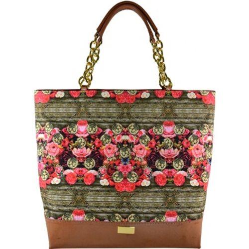 102111 Bolsa Acabamento de Couro Estilo Shopping Bag - Estampa Garden