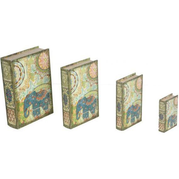 11228 BOOK BOX CJ 4PC ELEFANTE INDIA OLDWAY 30x21x7cm