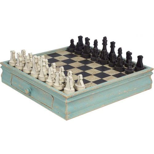43104 Tabuleiro de Xadrez em Madeira Azul