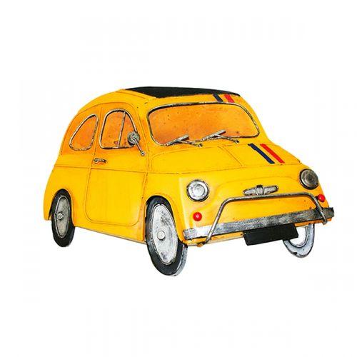47194 Carro Fiat 500 Amarelo em Metal p/ Pendurar