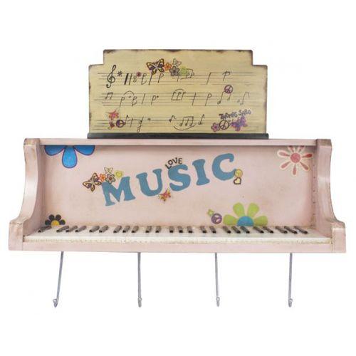 14122 Móvel de Parede Piano Rosa com Ganchos