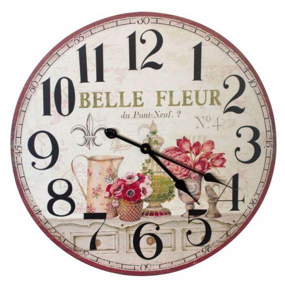 2332 Relógio Parede MDF Flores Bell e Fleur
