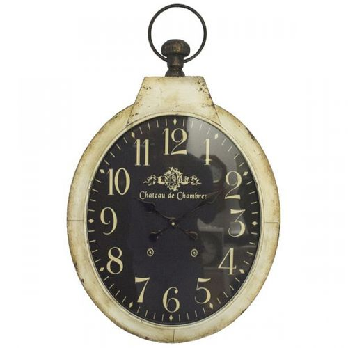 53085 Relógio Parede Oval Fundo Escuro