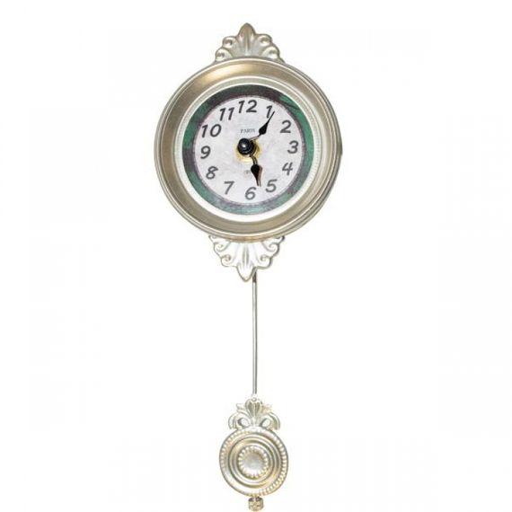19218 Relógio Parede Mini Metálico Com Pendulo