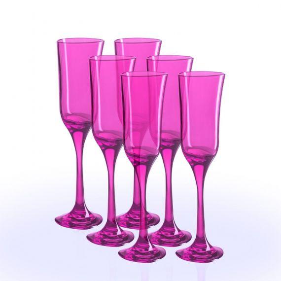 01.07.14 Kit 6 taças 160ML Translúcidas Rosa Lilas