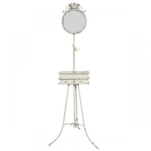 43098 Porta Joia Em Metal Branco Com Espelho