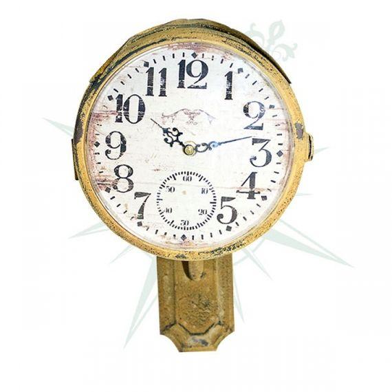 53093 Relógio Parede Ferro Amarelo Tipo Sinal