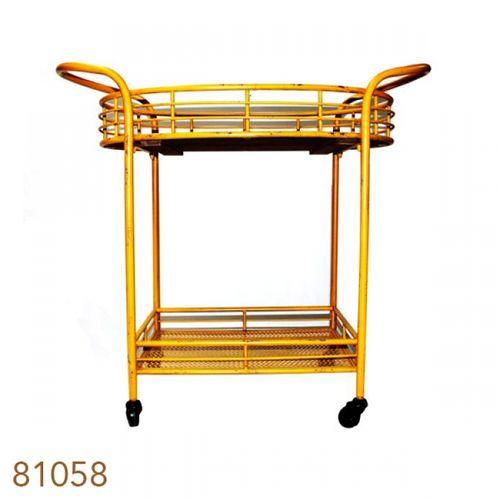 81058 Carrinho Chá / Bar Metal Amarelo Vintage