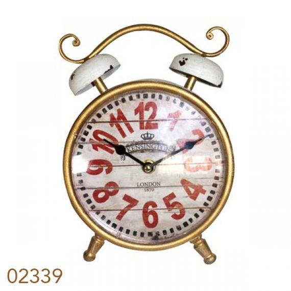 2339 Relógio de Mesa Clássico Dourado/Branco