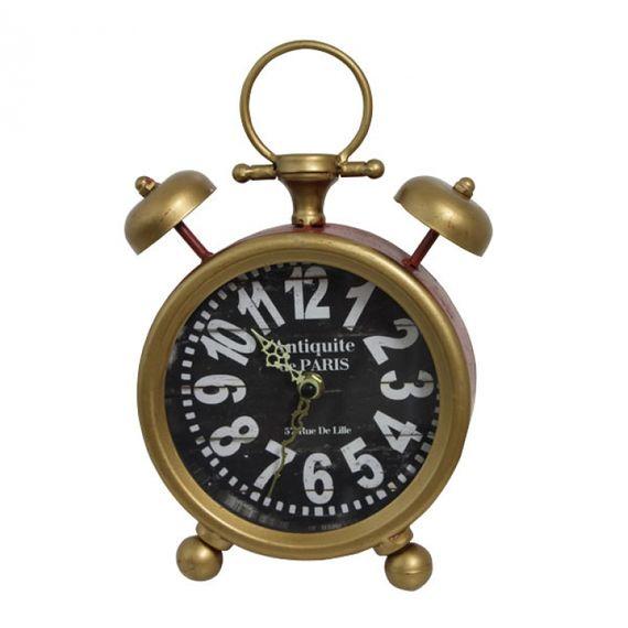 2340 Relógio Despertador Vermelho com Dourado