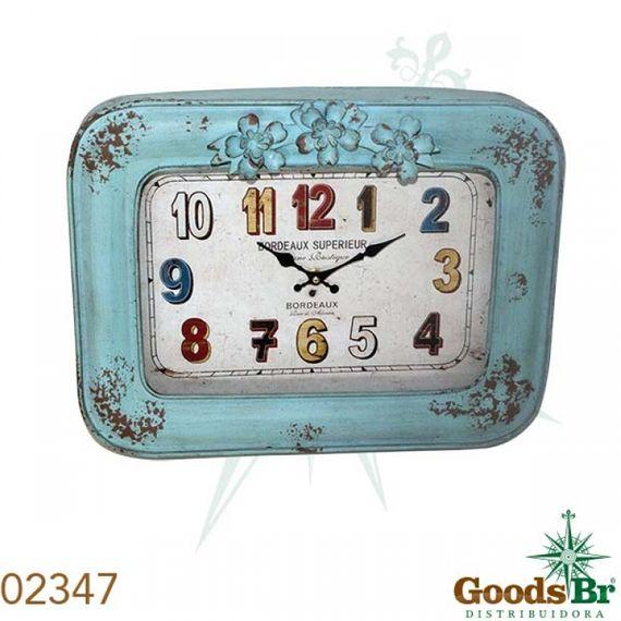 2347 Relógio Mold Flor Azul Numer Coloridos