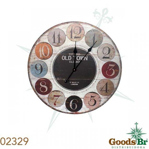 2329 Relógio Parede MDF Nums Colors Oldtown