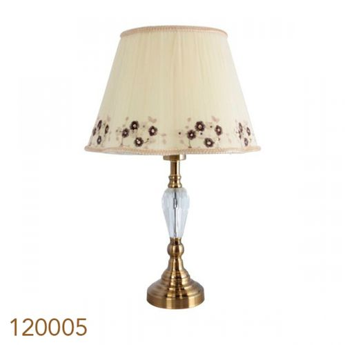 120005 Abajur Cúpula Curva Floral Base Dourada