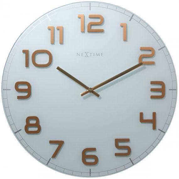 153039 Relógio Parede Classy Round White Copper Nextime