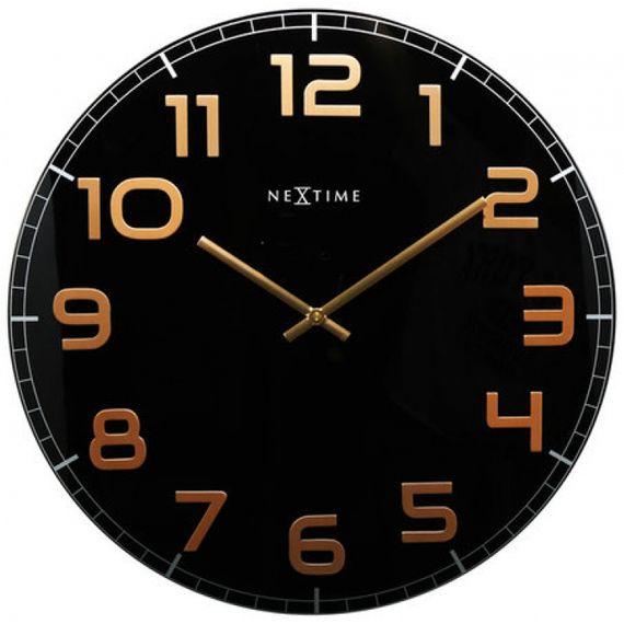 153040 Relógio Parede Classy Round Black Copper Nextime