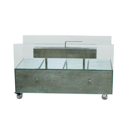 149202 Lareira Grande Concreto Espelhos Prata