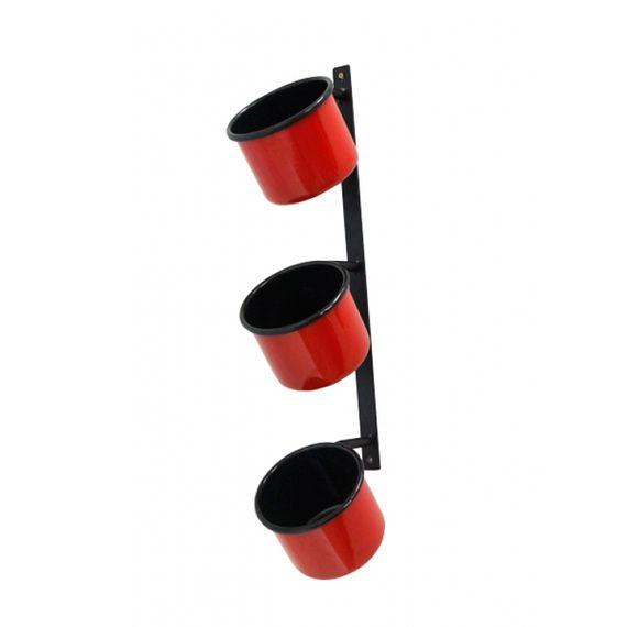164005 Floreira Parede Retangular 3 Curvas Vermelha