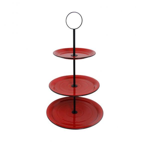 164008 Fruteira de Mesa 3 Andares Vermelha