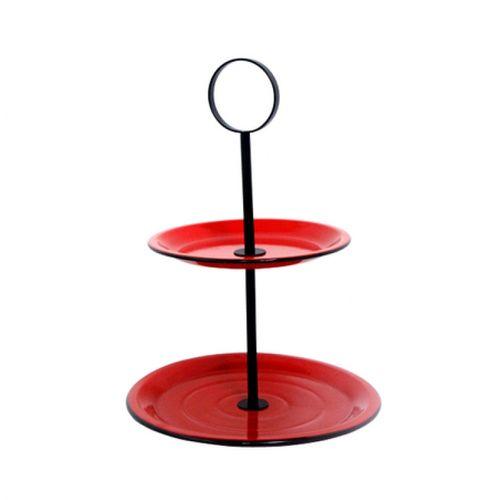 164011 Fruteira de Mesa 2 Andares Vermelha